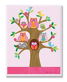 """Stupell Industries The Kids Room Owls, Birds and Squirrel in A Tree Wall Plaque Art, 12.5"""" x 18.5"""""""