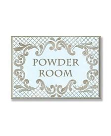 "Stupell Industries Home Decor Powder Room Aqua and Gold Lattice Bathroom Wall Plaque Art, 12.5"" x 18.5"""
