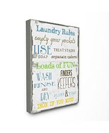 """Stupell Industries Home Decor Laundry Rules Typography Bathroom Canvas Wall Art, 24"""" x 30"""""""