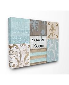 "Stupell Industries Home Decor Collection Fleur de Lis Powder Room Blue, Brown and Beige Bathroom Canvas Wall Art, 24"" x 30"""