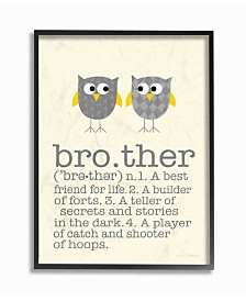 """Stupell Industries Home Decor Definition Of Brother with Two Gray Owls Framed Giclee Art, 16"""" x 20"""""""