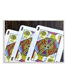 """Stupell Industries Bitcoin on Playing Cards Wall Plaque Art, 12.5"""" x 18.5"""""""