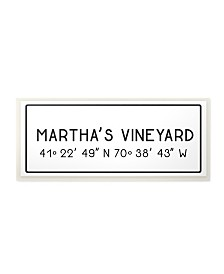 "Stupell Industries Plate City Coordinates Martha's Vineyard Wall Plaque Art, 7"" x 17"""