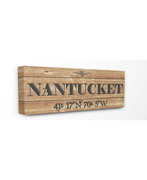 "Stupell Industries Plank City Coordinates Nantucket Canvas Wall Art, 10"" x 24"""