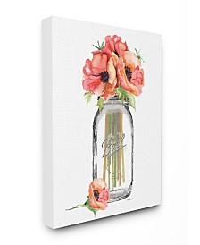 "Stupell Industries Mason Jar Poppys Canvas Wall Art, 16"" x 20"""