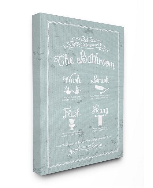 """Stupell Industries Guide To Procedures Bathroom Blue Canvas Wall Art, 30"""" x 40"""""""