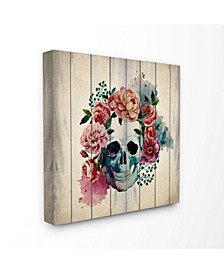 "Floral Skull Watercolor on Planks Canvas Wall Art, 17"" x 17"""