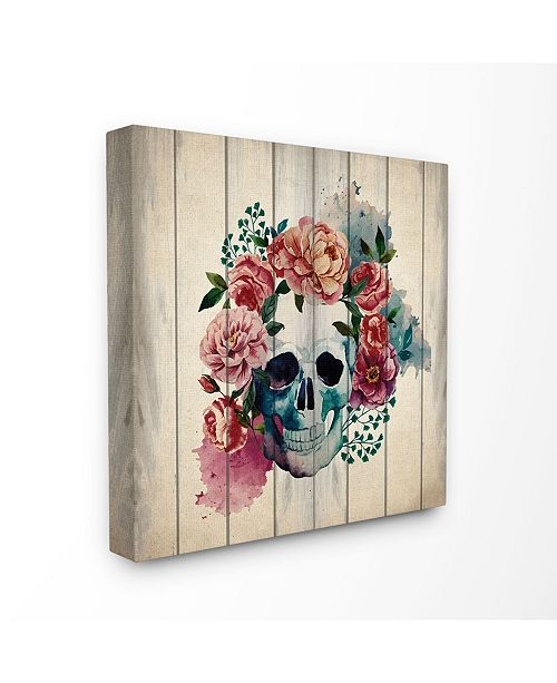 "Stupell Industries Floral Skull Watercolor on Planks Canvas Wall Art, 24"" x 24"""