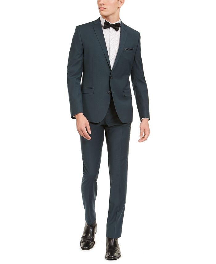 Nick Graham - Men's Slim-Fit Performance Stretch Green Solid Suit