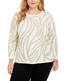Plus Size Classics Metallic Animal-Print Sweater