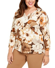 Alfred Dunner Plus Size Walnut Grove Embellished Floral-Print Cotton Sweater