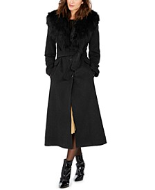 Faux-Fur Shawl-Collar Maxi Coat