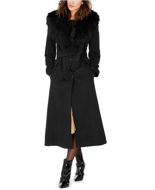 Calvin Klein Petite Faux-Fur-Collar Maxi Coat