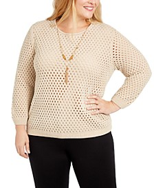 Plus Size Walnut Grove Pointelle Necklace Sweater