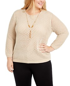 Alfred Dunner Plus Size Walnut Grove Pointelle Necklace Sweater