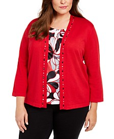 Plus Size Well Red Beaded-Trim Layered-Look Top