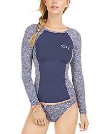 Juniors' Printed Long-Sleeve Rash Guard