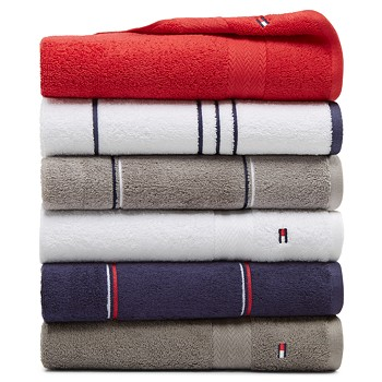 Tommy Hilfiger All American II Cotton Bath Towel (Solid or Stripe)