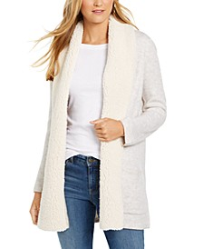 Sherpa-Trim Open-Front Cardigan, Created for Macy's