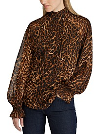 Lauren Ralph Lauren Animal-Print Bishop-Sleeve Georgette Top