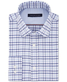Men's Fitted Performance Stretch Blue Check Dress Shirt