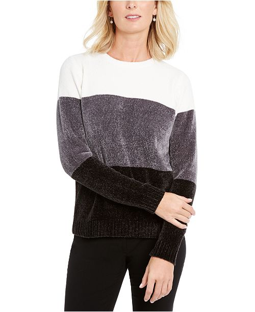 Karen Scott Petite Lucy Colorblocked Chenille Sweater, Created For Macy's