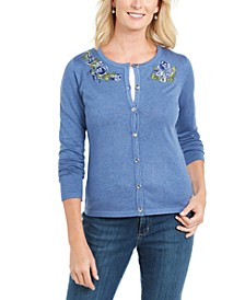 Solid Patchwork Floral Embroidered Cardigan, Created for Macy's