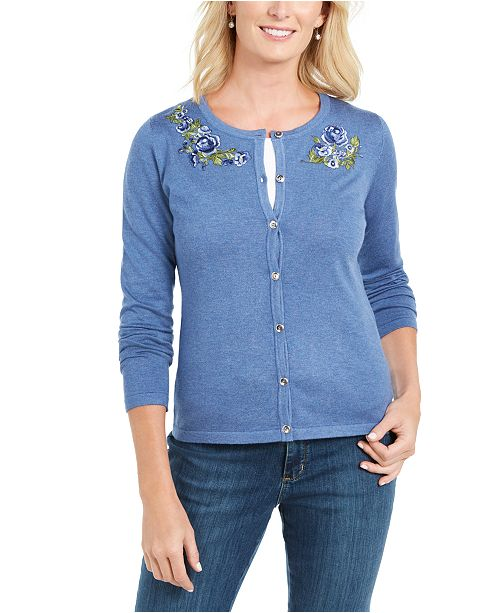 Karen Scott Solid Patchwork Floral Embroidered Cardigan, Created for Macy's