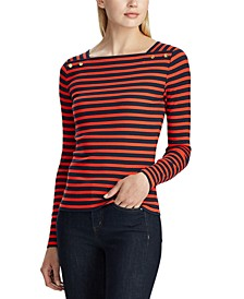 Stripe-Print Long-Sleeve Top