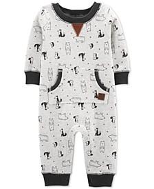 Baby Boys Bear-Print Fleece Jumpsuit