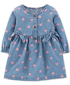 Baby Girls Heart-Print Chambray Dress