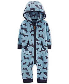 Baby Boys Hooded Dog-Print Fleece Jumpsuit