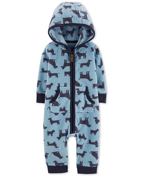 Carter's Baby Boys Hooded Dog-Print Fleece Jumpsuit