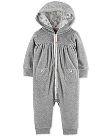 Baby Girls Hooded Fleece Heart Coverall