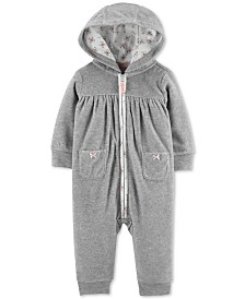 Carter's Baby Girls Hooded Fleece Heart Coverall