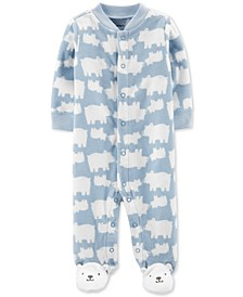 Baby Boys Bear Snap-Up Fleece Coveralls
