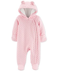 Baby Girls Hooded Quilted Bunting