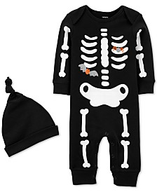 Carter's Baby Boys & Girls 2-Pc. Cotton Skeleton Hat & Glow-In-The-Dark Jumpsuit Set