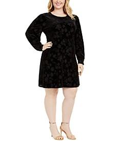 Plus Size Puff-Sleeve Burnout-Print Dress