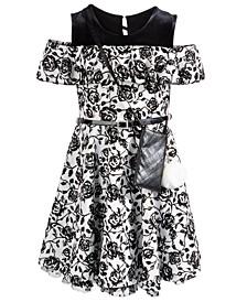 Big Girls 2-Pc. Belted Floral Cold-Shoulder Dress & Charm Purse Set