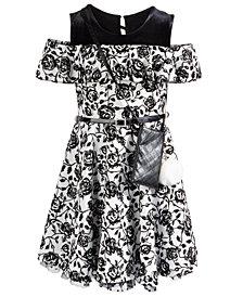 Beautees Big Girls 2-Pc. Belted Floral Cold-Shoulder Dress & Charm Purse Set