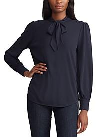 Tie-Neck Long-Sleeve Jersey Top