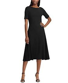 Stripe-Print Boatneck Fit & Flare Dress