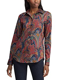 Paisley-Print Sateen Cotton Button-Down Shirt