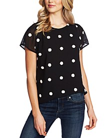 Textured Dot Cap-Sleeve Top