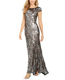 Calvin Klein Cap-Sleeve Sequined Gown