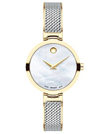 Movado Women's Swiss Amika Two-Tone Stainless Steel Mesh Bangle Bracelet 27mm