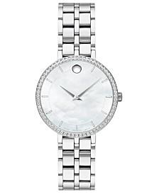 Movado Women's Swiss Kora Diamond (1/4 ct. t.w.) Stainless Steel Bracelet Watch 28mm