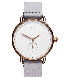 MVMT Bloom Ghost Iris Gray Leather Strap Watch 36mm