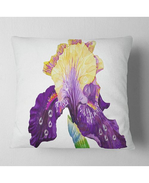 "Design Art Designart Blooming Blue Yellow Iris Floral Throw Pillow - 16"" X 16"""